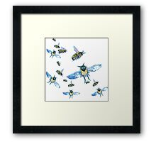 Flying Bees painting on white background Framed Print