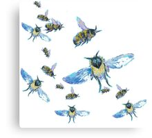 Flying Bees painting on white background Canvas Print