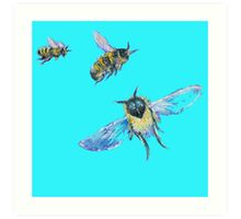 Flying Bees painting on blue background Art Print