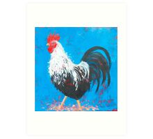 Black and White Rooster painting Art Print