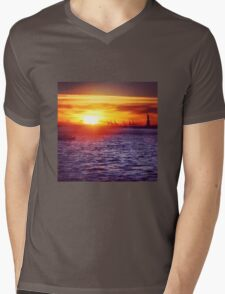 Sunset over New York City Harbour Mens V-Neck T-Shirt