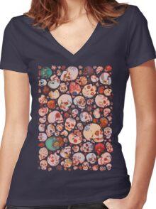 Skull Doodles Women's Fitted V-Neck T-Shirt