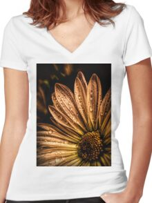 Rain drops on daisy flower petals Women's Fitted V-Neck T-Shirt