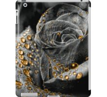 Gold dew drops on Rose - black and white iPad Case/Skin