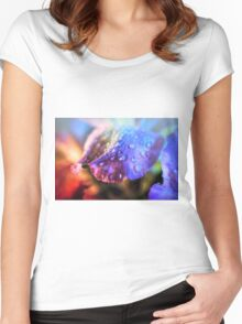 Dew drops on the petal Women's Fitted Scoop T-Shirt