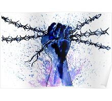 Hand with Barbed Wire Poster