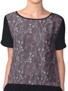 Cute floral pattern with berries on branches. Chiffon Top