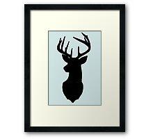 Deer and antler silhouette Framed Print