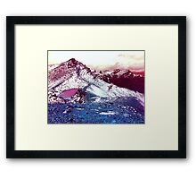 Pink Lake Snow Fall Mountains Framed Print