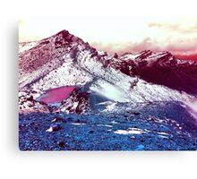 Pink Lake Snow Fall Mountains Canvas Print