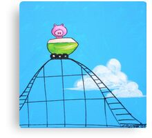 Splatter Roller Coaster Pig Canvas Print