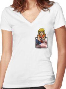 Street Fighter Pocket Pals - #2 Ken Women's Fitted V-Neck T-Shirt