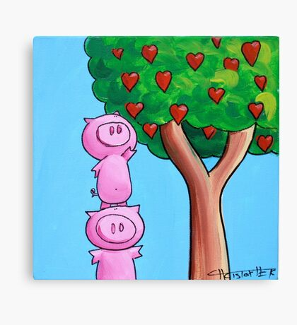 Splatter Pigs Picking Love Canvas Print
