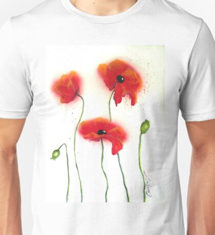 Abstract Red Poppies Unisex T-Shirt