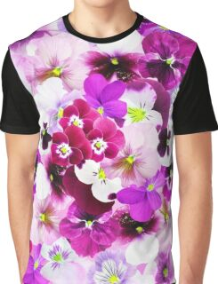 Cute bright pink red trendy organic pansies flowers Graphic T-Shirt