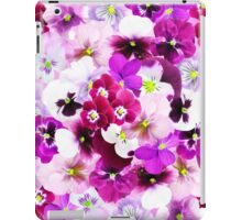 Cute bright pink red trendy organic pansies flowers iPad Case/Skin