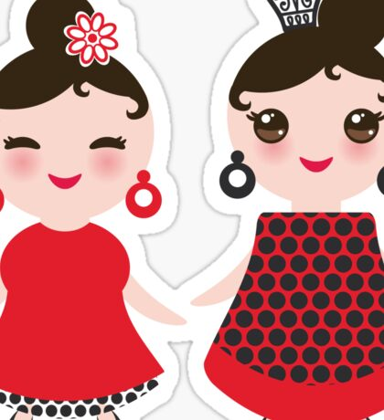 Flamencas in red and black Sticker