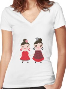 Flamencas in red and black Women's Fitted V-Neck T-Shirt