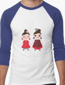 Flamencas in red and black Men's Baseball ¾ T-Shirt