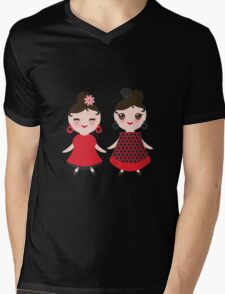 Flamencas in red and black Mens V-Neck T-Shirt