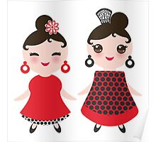 Flamencas in red and black Poster
