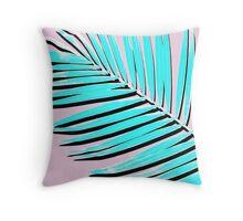 Palm print, Tropical Plant, Palm leaf, Blue, Pink,  Minimal, Tropical art, Modern Throw Pillow