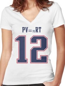 IDEAL GAS LAW - TOM BRADY, PATRIOTS, DEFLATEGATE (White) Women's Fitted V-Neck T-Shirt