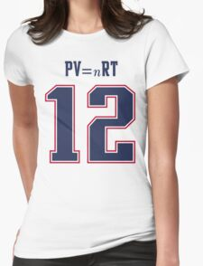 IDEAL GAS LAW - TOM BRADY, PATRIOTS, DEFLATEGATE (White) Womens Fitted T-Shirt