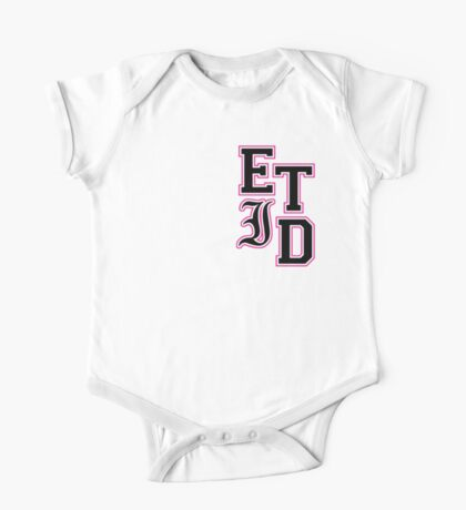 Varsity Letters (Black in Pink) One Piece - Short Sleeve
