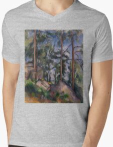 Paul Cezanne - Pines and Rocks Fontainebleau 1897 Mens V-Neck T-Shirt