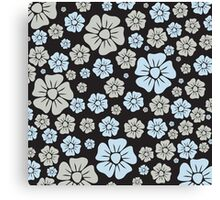 Soft Grey and Blue Flowers Canvas Print