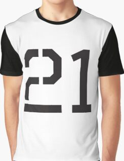 21, TEAM SPORTS, NUMBER 21, TWENTY ONE, TWENTY FIRST, TWO, ONE, Stencil, Competition,  Graphic T-Shirt