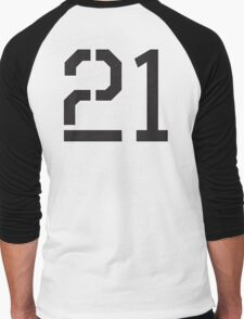 21, TEAM SPORTS, NUMBER 21, TWENTY ONE, TWENTY FIRST, TWO, ONE, Stencil, Competition,  Men's Baseball ¾ T-Shirt