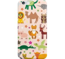 Funny cartoon animals on pink iPhone Case/Skin