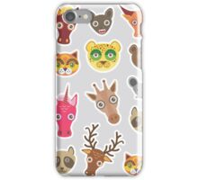 Funny animals on grey iPhone Case/Skin