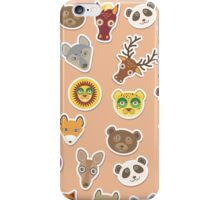 Funny animals on pink-peach iPhone Case/Skin