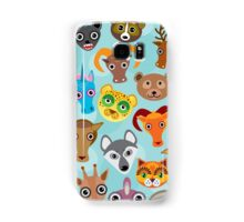 Animal faces on blue Samsung Galaxy Case/Skin