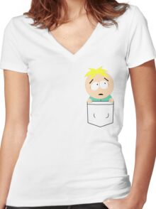 Pocket Butters Women's Fitted V-Neck T-Shirt
