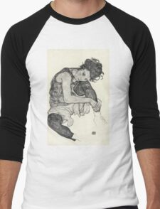 Egon Schiele - Zeichnungen I. 1917  Expressionism Woman Portrait Men's Baseball ¾ T-Shirt