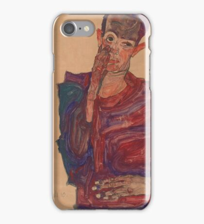 Egon Schiele - Self-Portrait with Eyelid Pulled Down, 1910  Expressionism  Portrait iPhone Case/Skin