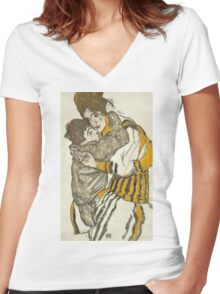 Egon Schiele - Schiele's Wife with Her Little Nephew 1915 Women's Fitted V-Neck T-Shirt
