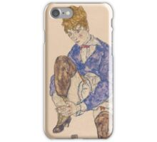 Egon Schiele - Portrait of the Artist's Wife Seated, Holding Her Right Leg 1917 iPhone Case/Skin