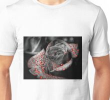 Red drops on Rose Petals Unisex T-Shirt