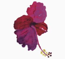 Hibiscus in different hues of pink and purple watercolor Kids Tee