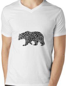 Bear with giraffe print Mens V-Neck T-Shirt