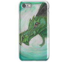 Green illustrated Oil pastel fantasy dragon  iPhone Case/Skin