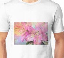 Rain drops on lily petals Unisex T-Shirt