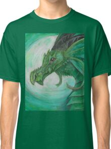 Green illustrated Oil pastel fantasy dragon  Classic T-Shirt