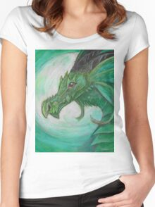 Green illustrated Oil pastel fantasy dragon  Women's Fitted Scoop T-Shirt