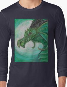 Green illustrated Oil pastel fantasy dragon  Long Sleeve T-Shirt